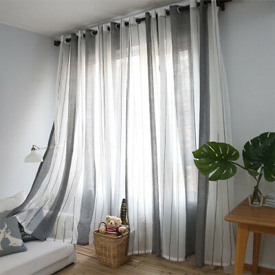 Fashion Stripe Window Curtain Punching Hole Panel Bedroom Decor Door Room Gift P