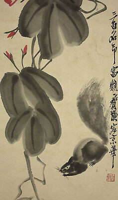 """CHINESE HANGING SCROLL """"Morning Glory and Squirrel""""  @u107"""