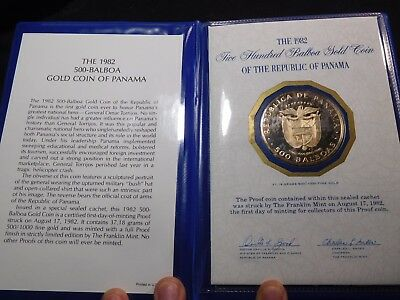 INV #S47 Panama 1982 GOLD 500 Balboa FDC Proof Very RARE Mintage of 388