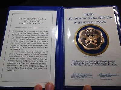 INV #S49 Panama 1985 GOLD 500 Balboa FDC Proof EXTREMELY RARE Mintage of 184