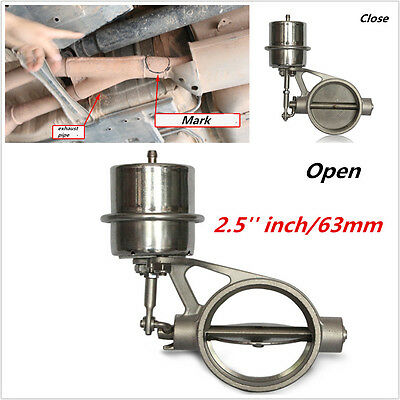 Stainless Steel 2.5inch/63mm Exhaust Pipe Valve Sport Vacuum Actuator Open Style