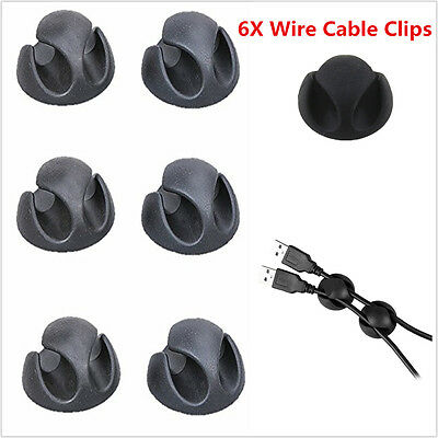 6X Car Wire Cable Clips Holder Fastens Organizer Cords Fixer Clamps Universal