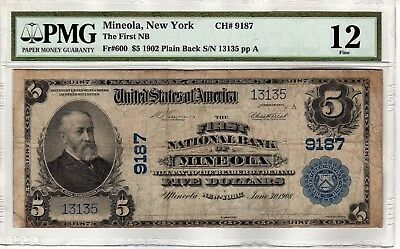 $5 1902 Pb First National Bank Mineola Ny Ch#9187 Pmg Fine 12