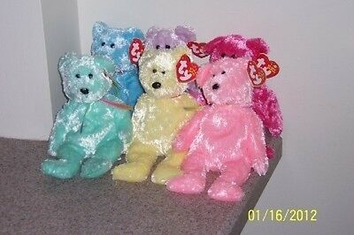 SHERBET SET OF 6 COMPLETE BEARS Ty Beanie Baby  MINT TAGS AND  BLUE PINK PURPLE+
