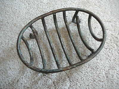 VINTAGE STYLE IRON STEEL OPEN BARS SINK TOP OVAL 4-LEGGED SOAP DISH 4 x 5-5/8