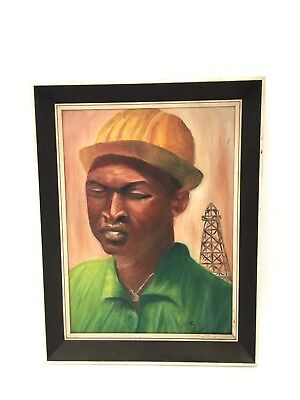 Vintage Retro Mid Century 1960s Signed Framed Portrait Oil on Canvas Painting