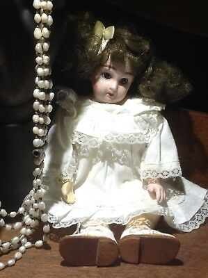 antique french doll 60Rue Mazarine Paris 23cm brown glass eyes collectable&stand