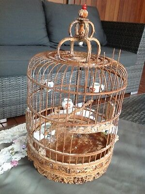 antique oriental bamboo intricate carved bird cage cage 5 ceramic feed bowls