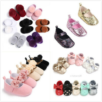 Toddler Newborn Baby Girl Princess Shoes Soft Sole Shoes Sneakers Prewalkers UK