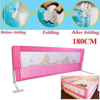 Kids Baby Children Safe Bed Rail Guard Protector Folding pink 180cm