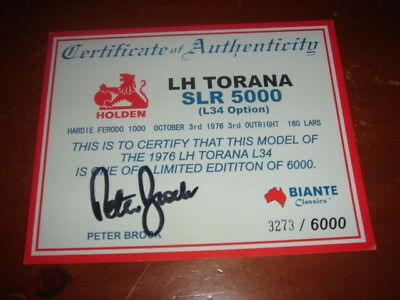Peter Brock signed Certificate of Authenticity Biante LH Torana SLR5000 - 1976
