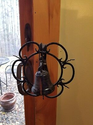 Hand Forged Wrought Iron Pull Lever Store Door Bell Wall Mount Antique Vintage