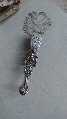 EXQUISITE ANTIQUE FRENCH SILVER PLATED MINIATURE SUGAR TONGS WITH CHERUBS c1890