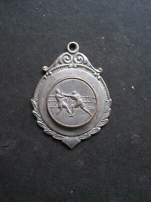 Vintage Silver Plated Boxing Fob Medal For Pocket Watch Albert Chain