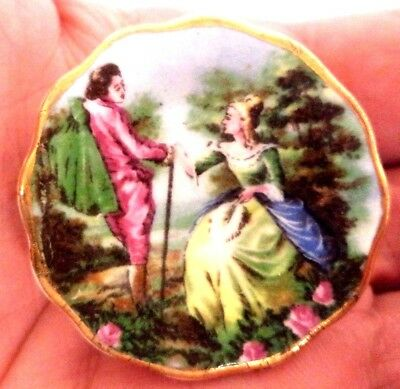 "Stunning Vintage Estate Signed Coalport China England Women 1 3/8"" Brooch! 9130D"