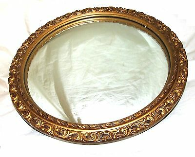 Antique Style Circular Gilt Carved & Gesso Mirror with Bevelled Glass (a33)