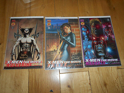 X Men The Movie Prequel Signed Comics x3 Wolverine  Magneto  Rogue  11 / 5000