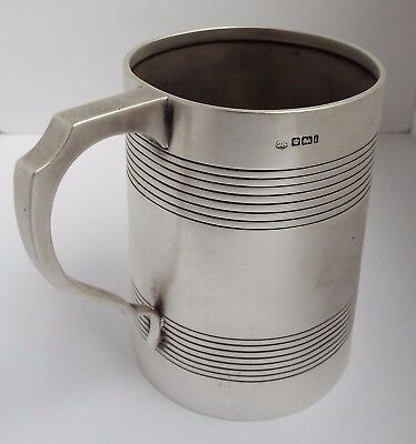 SUPERB LARGE HEAVY 400g ENGLISH ANTIQUE 1901 SOLID STERLING SILVER PINT TANKARD
