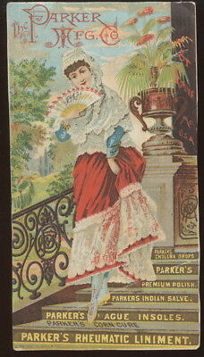 Early Trade Card, Parker's Medicines, Cures, Polish, Insoles, Etc. St. Louis, Mo