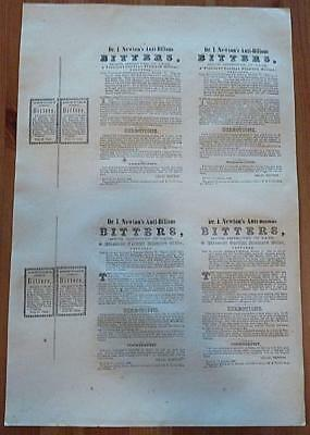 Dr. I. Newton's Anti-Bilious Bitters - Unused Full Sheet of Bottle Labels - 1846