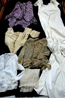 LARGE LOT ANTIQUE 1800s CLOTHING ~ BUSTIER SKIRT NIGHTGOWN BODICE 4 pattern stud