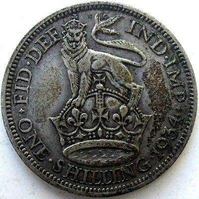 Great Britain Uk Coins, One Shilling 1934, George V, Silver 0.500