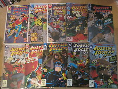 JUSTICE SOCIETY of AMERICA : COMPLETE 10 ISSUE 1992 DC SERIES. FLASH,HAWKMAN etc