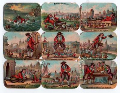 Victorian Die Cut Relief Scrap Sheet. Gulliver's Voyage Travels