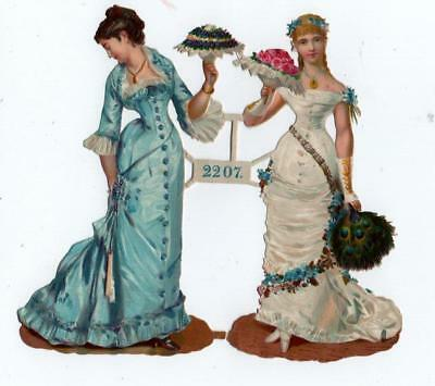 Victorian Die Cut Relief Scrap Sheet. Elegant Ladies #2207