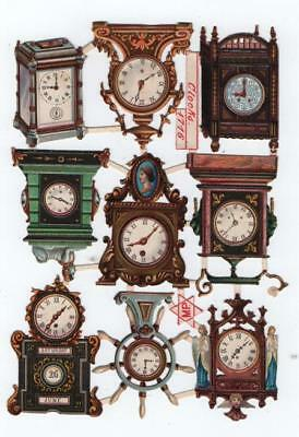 Victorian Die Cut Relief Scrap Sheet. Clocks. Pub'd M. Priester #1716