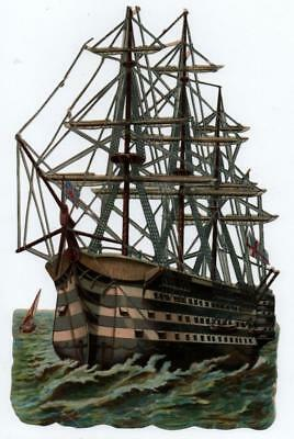 "Gigantic 10.5"" x 6.75"" Victorian Die Cut relief scrap of a Sailing Ship"