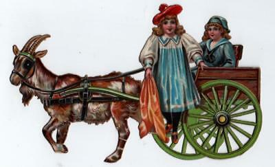 RARE Victorian Raphael Tuck Novelty Paper Toy Scrap A Morning Call Goat Cart
