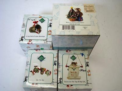 Lot of Christmas Themed Charming Tails in Original Boxes - 4 Pieces Total