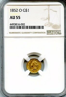 Outstanding 1852-O NGC AU 55 United States $1 Dollar 90% Gold Coin RN234