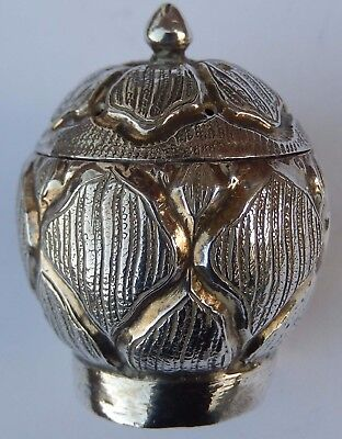 Fine Antique Anglo Indian Islamic Solid Silver Pepperette; Kashmir c1880