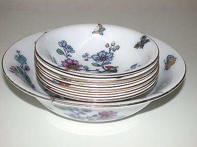 Losol Ware  Rosss 1 Large Fruit Bowl & 6 Small Fruit Bowls Part Hand Painted