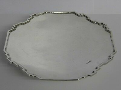 A Fine Art Deco Walker & Hall Solid Sterling Silver Salver Tray - Sheffield 1935
