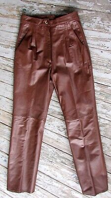 Vtg 80s Womans Shiny Brown Leather High Waist Biker Disco Pants Jeans 26x27.5 S
