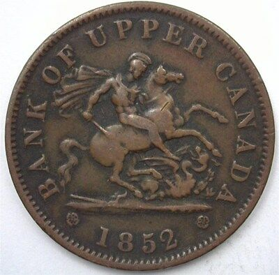 Upper Canada 1852 Penny Bank Token  Nearly Extremely Fine