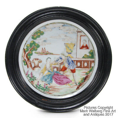 Chinese Export Famille Rose Porcelain Dish Framed with European Subject, 18th C.