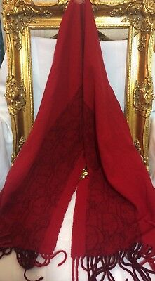 CHRISTIAN DIOR vintage Red Wool Neck scarf