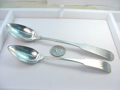 """Two Coin Silver Spoons  S.bramhall Monogram  6 3/8 - 7 1/2""""  48.50 Grams Total"""
