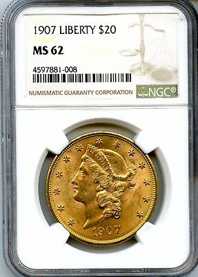 1907 NGC MS 62 .9675oz 90% Gold $20 Liberty Head Gold Double Eagle Coin RN240