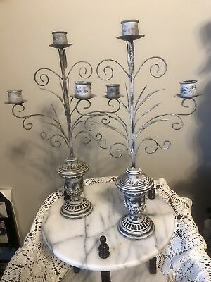 Candle Holders Pair Shabby Chic Metal