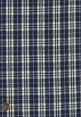 Antique 1890 Navy Blue & White Checks Woven Fabric