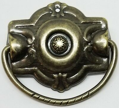 ​Antiqued Stamped Brass DEPRESSION ERA STYLE SINGLE POST PULL handle knob bail