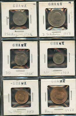 Ghana  Lot Of Six Coins  You Do The Grading Have Fun Bidding