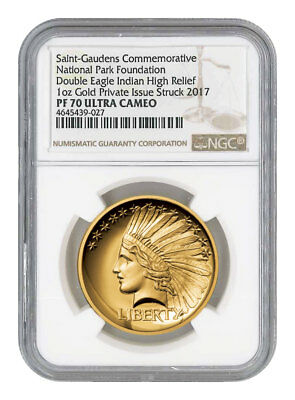 2017 $20 Double Eagle Indian Head Pattern HR 1oz Gold Medal NGC PF70 UC SKU51801