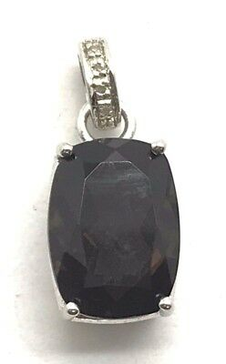 Sterling Silver 925 Faceted Smoky Brown Topaz - Diamond Bail Elegant Pendant