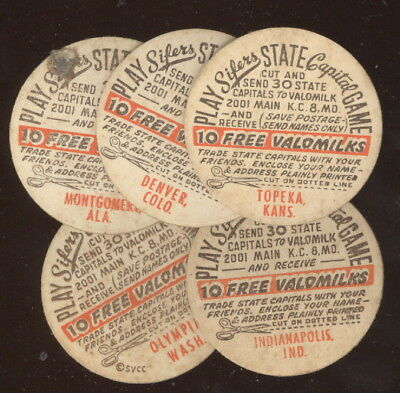 Lot Of 5 Different Valomilk Caps From Sifers State Capitol Game